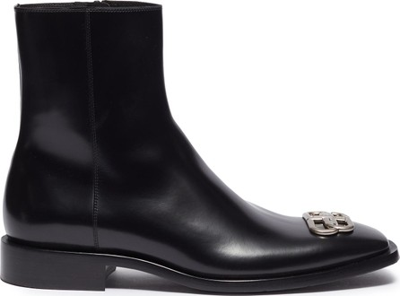 Balenciaga logo plaque leather ankle boots