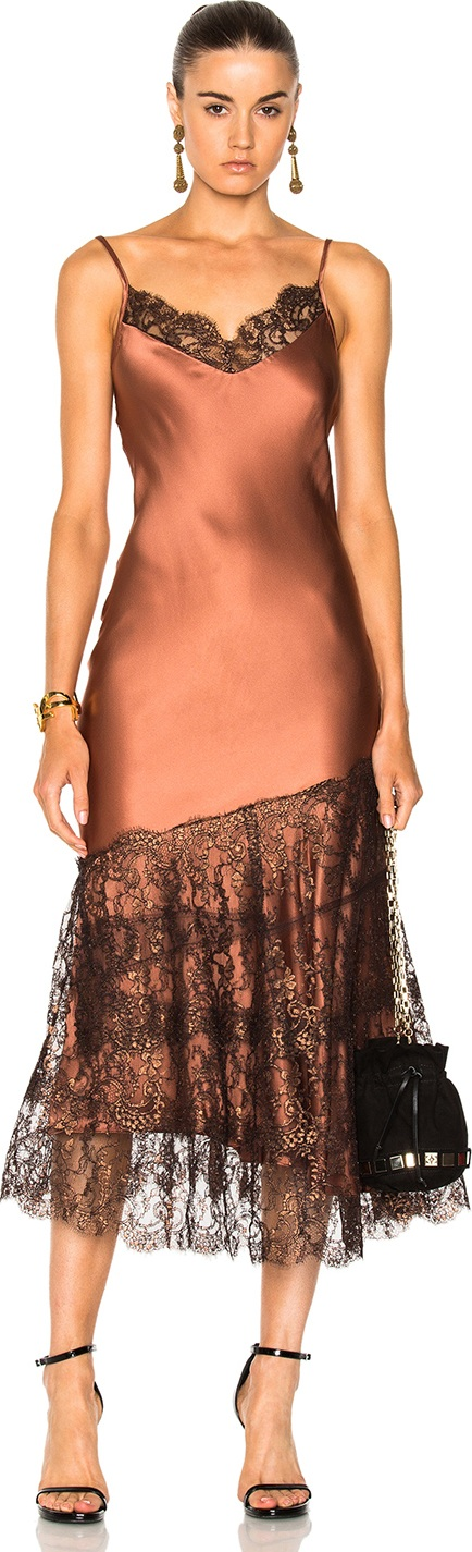 Johanna Ortiz - La Maria Silk Charmeuse Embroidered Dress in Bronce