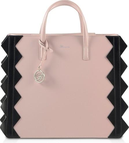 Blumarine Color Block Zig-Zag Tote Bag