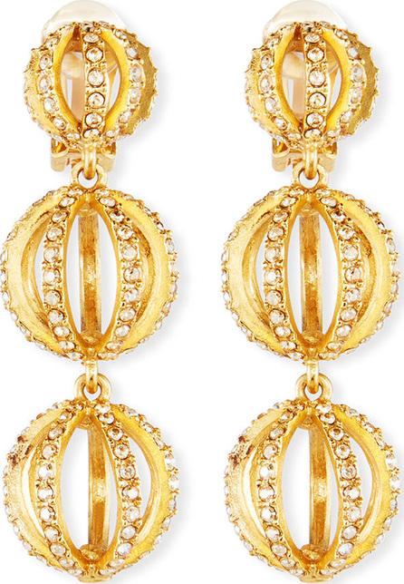 Oscar De La Renta Globe Triple-Drop Earrings w/ Pavé