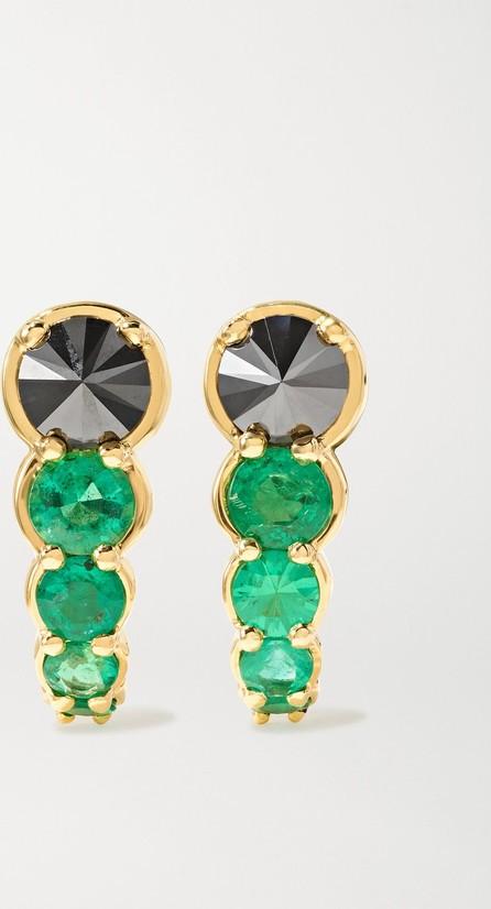 Ara Vartanian Hook 18-karat gold, diamond and emerald earrings