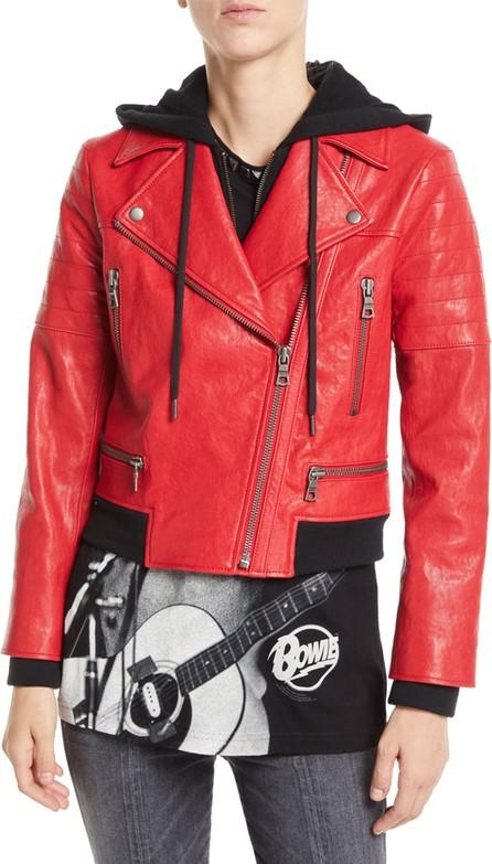 AO.LA by alice + olivia Avril Zip-Front Leather Jacket w/ Sweatshirt Hoodie Combo
