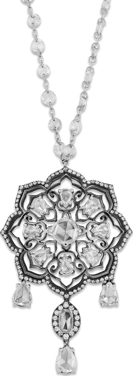 Staurino Fratelli 18k White Gold Diamond-Strand Floral Pendant Necklace