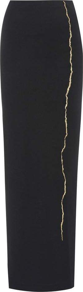 Haider Ackermann Embroidered wool maxi skirt