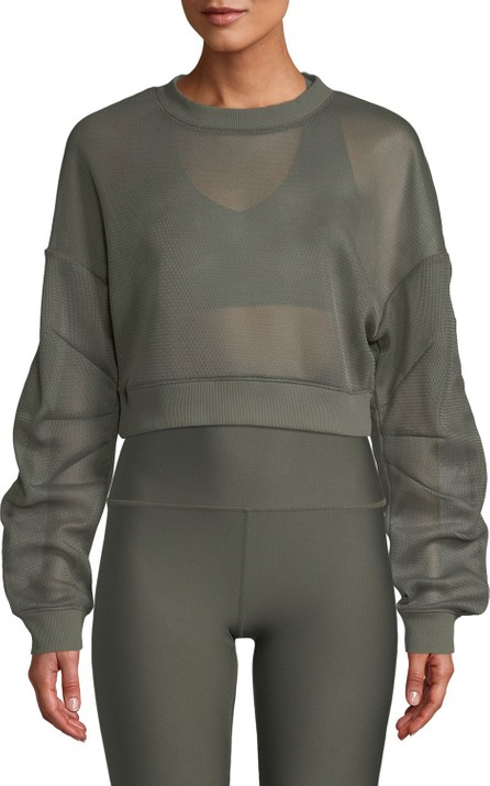 Alo Yoga Row Mesh Sheer Cropped Pullover Sweatshirt