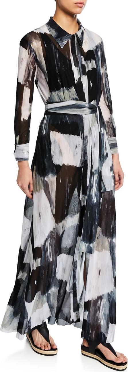 Norma Kamali NK Printed A-Line Shirt Dress