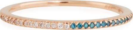 Stevie Wren 14k Rose Gold Skinny Band Ring with White/Blue Diamonds, Size 7