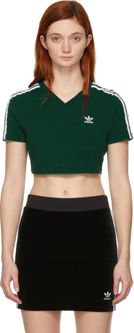 Adidas Originals Green Cropped 3-Stripes T-Shirt