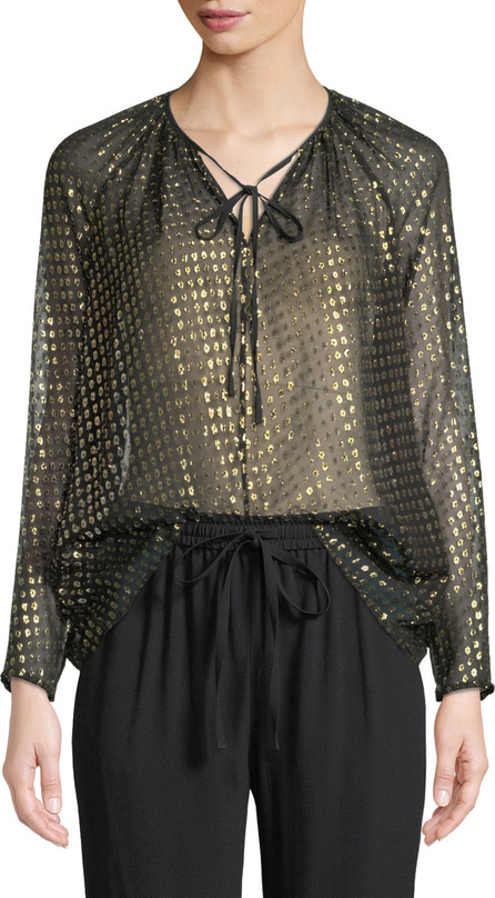 RED Valentino Silk Lame Fil Coupe Tie-Neck Blouse