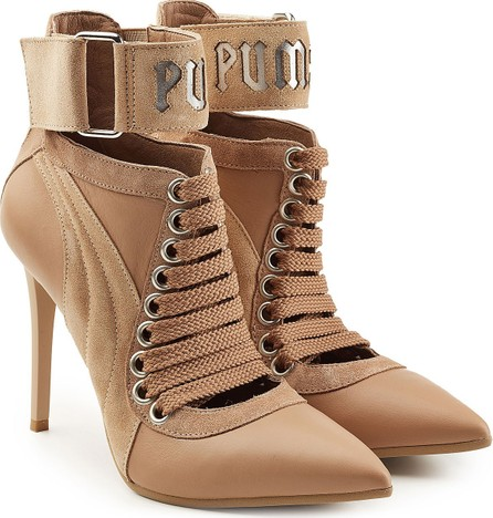 FENTY PUMA by Rihanna Lace Up Stiletto Boots with Leather and Suede