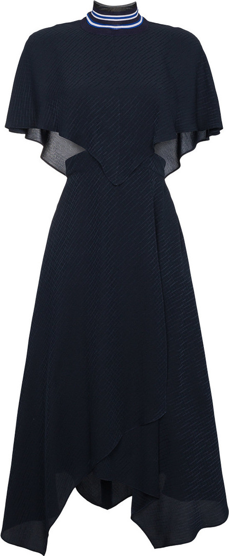Fendi Sleeveless crosshatch silk cape dress