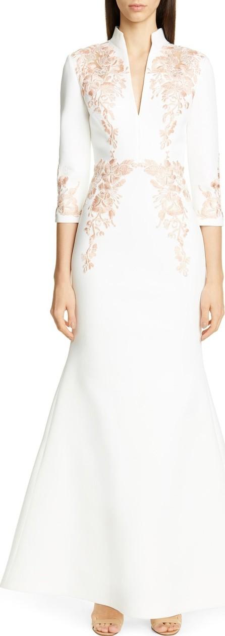 Badgley Mischka Floral Appliqué Scuba Evening Dress