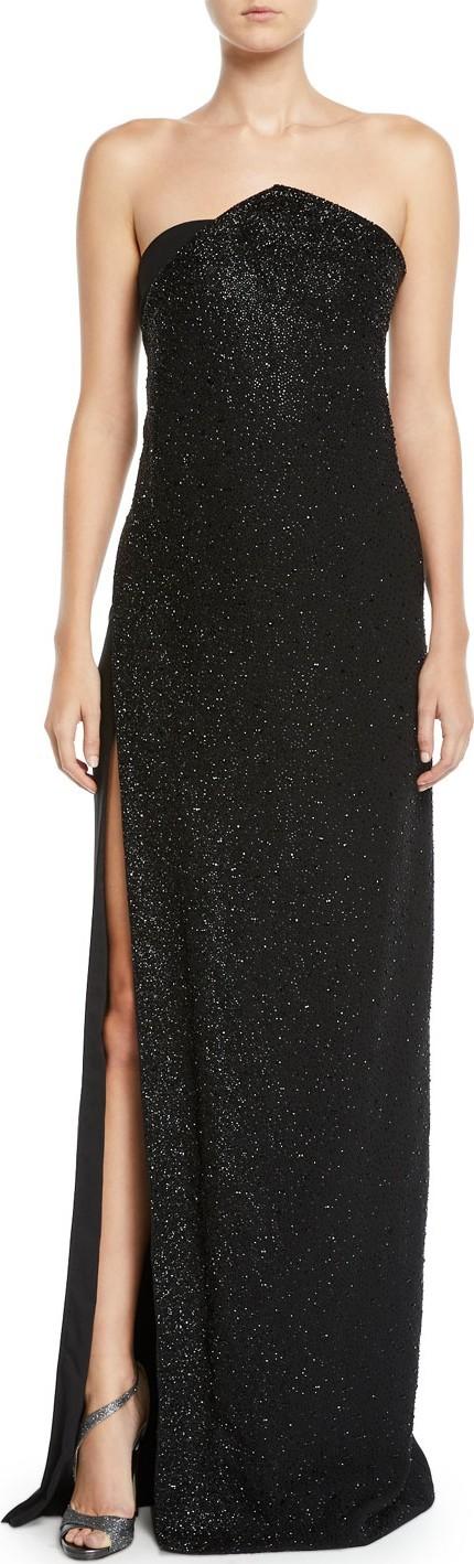Ahluwalia Chalet Strapless Slit-Skirt Shimmered Column Gown