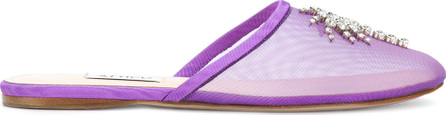 Attico Gina embellished mesh slippers