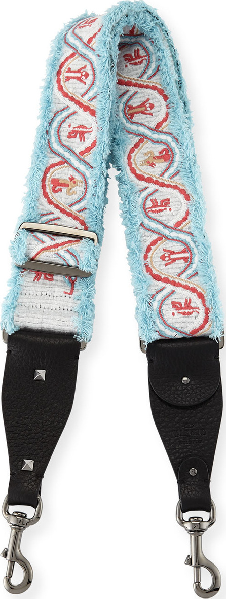 Valentino Rockstud Guitar Shoulder Strap with Embroidered Animals