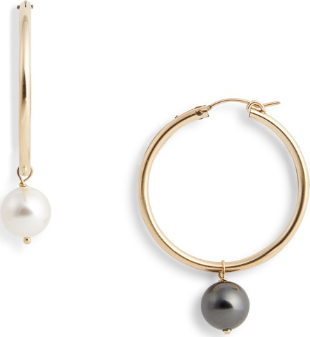 Beck Jewels Agra Mismatched Swarovski Imitation Pearl Hoop Earrings