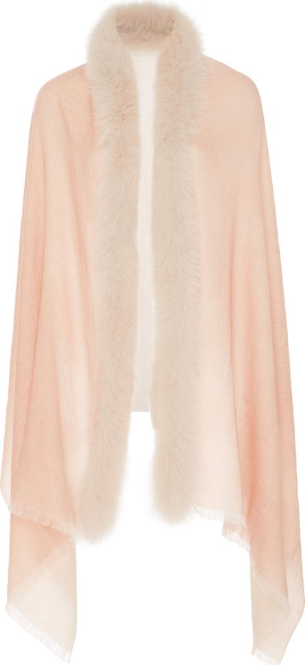 Ama Pure Rose Fox Fur Trim Scarf