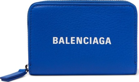 Balenciaga Logo-Print Textured-Leather Zip-Around Wallet