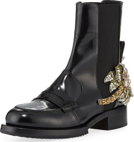 Nº21 Leather Boots with Crystal Flower