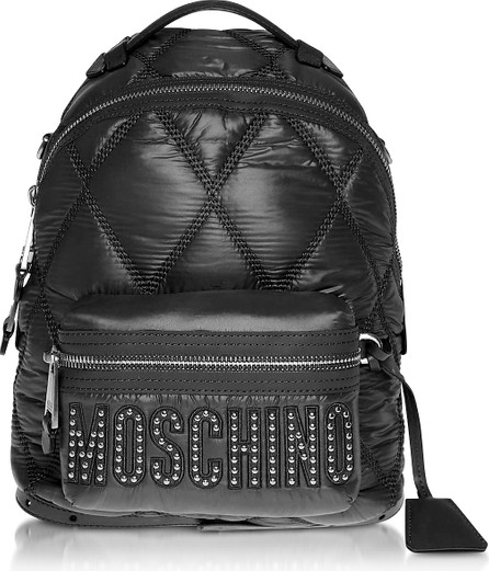 Moschino Black Quilted Nylon Signature Backpack w/Silver Studs