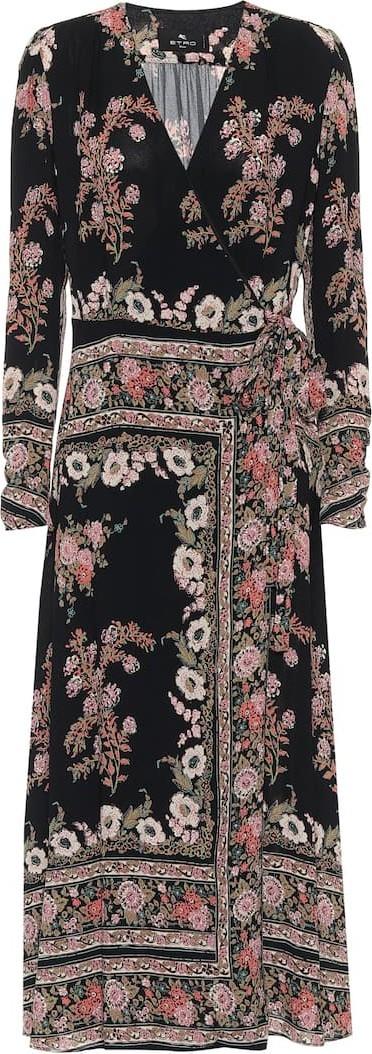 Etro Floral sablé midi wrap dress