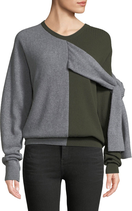 Carven Crewneck Split-Color Wool-Cashmere Sweater w/ Ties