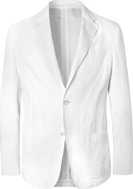 Ermenegildo Zegna White Unstructured Linen Blazer