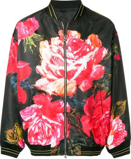 Alexander McQueen Rose print bomber jacket