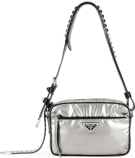 Prada Small Metallic Nylon Shoulder Bag with Studded Leather Strap