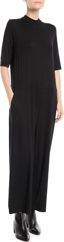 Eileen Fisher Half-Sleeve Mock-Neck Jersey Jumpsuit, Plus Size