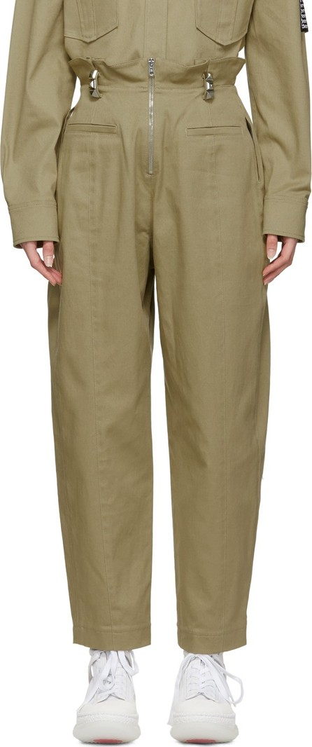 Alexander Wang Khaki High-Waisted Stud Trousers