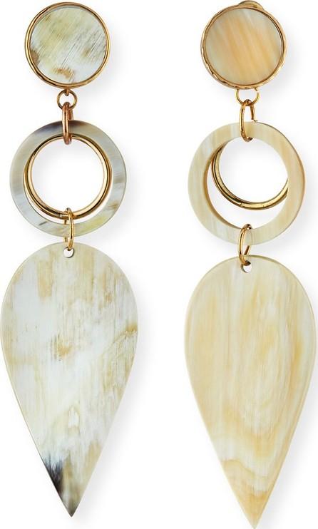 Akola Horn Petal-Drop Earrings, White