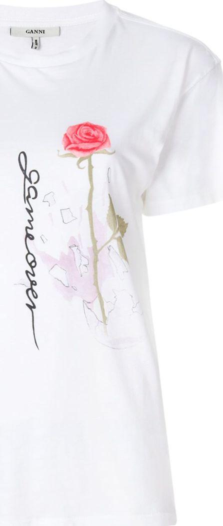 Ganni game over rose print T-shirt