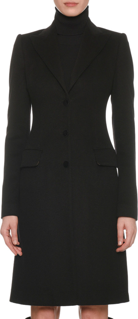 Peak-Lapel Three-Button 3/4-Length Coat