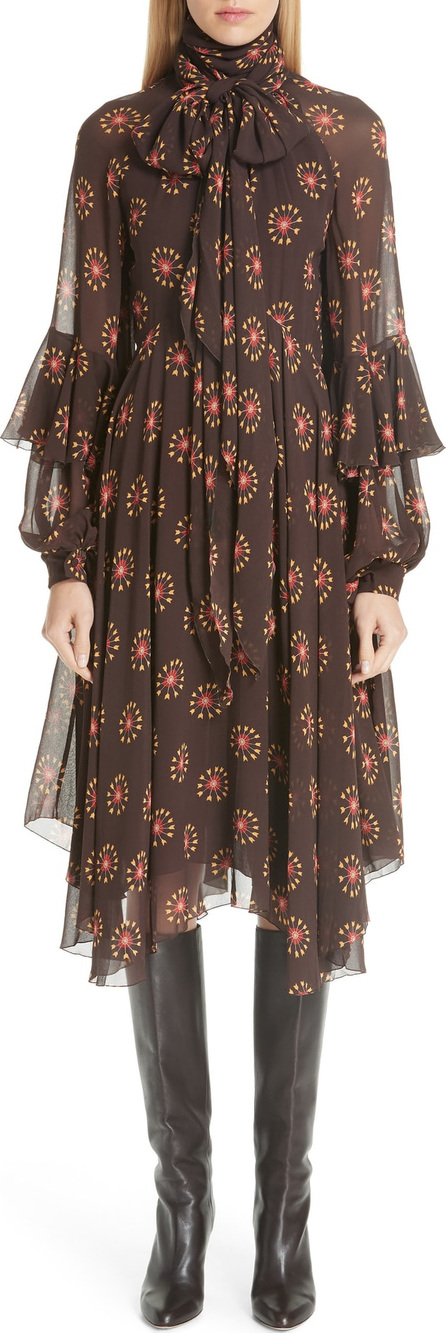Etro Ruffle Sleeve Print Silk Dress