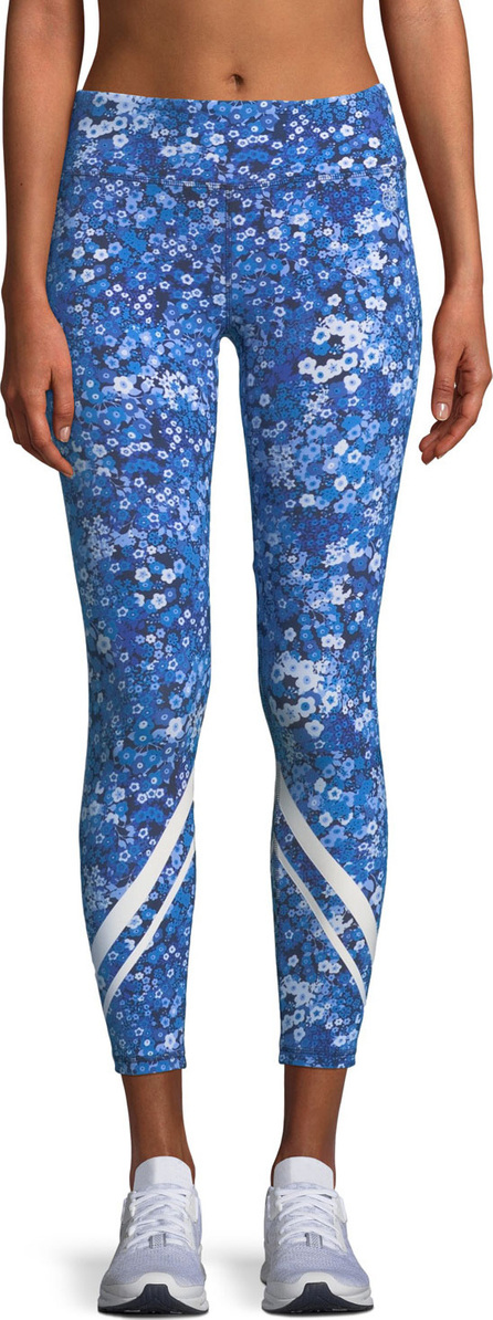 Tory Sport Floral-Print Chevron Cropped Activewear Leggings