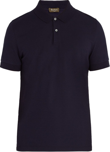 Berluti Leather-trimmed cotton polo shirt