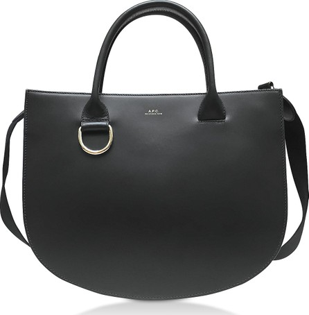 A.P.C. Marion Black Leather Tote Bag