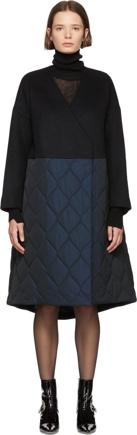 Enfold Black Bearver A-Line Coat