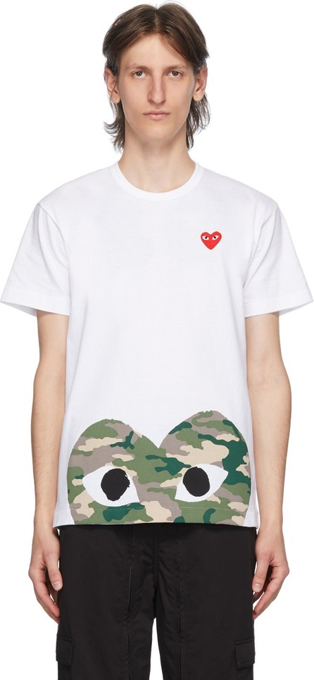 Comme Des Garcons PLAY White Camo Half Heart T-Shirt
