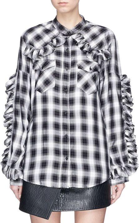 Forte Couture 'Thelma Rouches' ruffle trim check plaid shirt