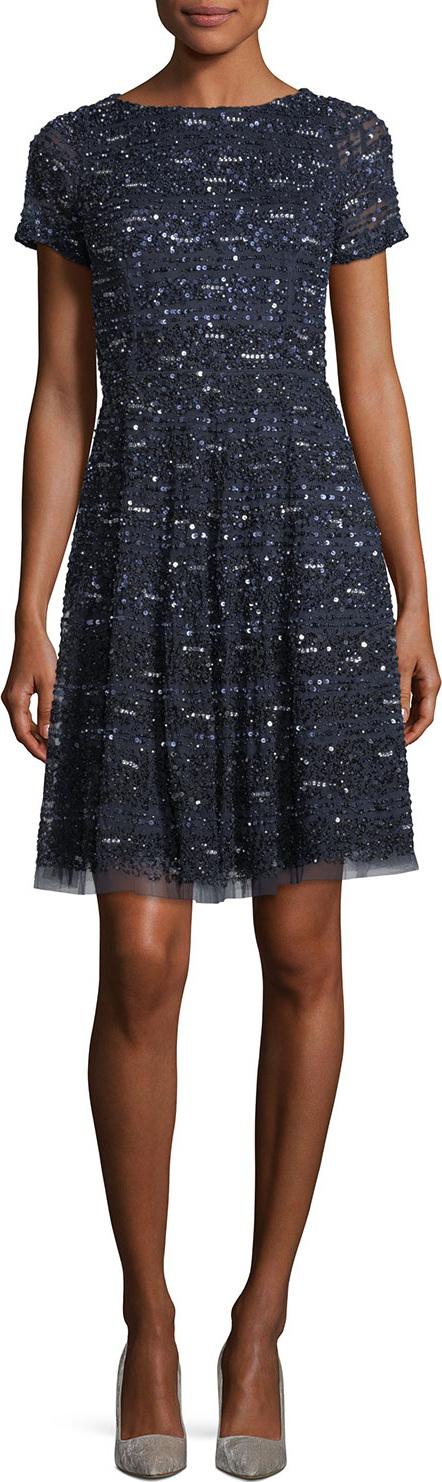 Aidan Mattox Short-Sleeve Sequined Cocktail Dress