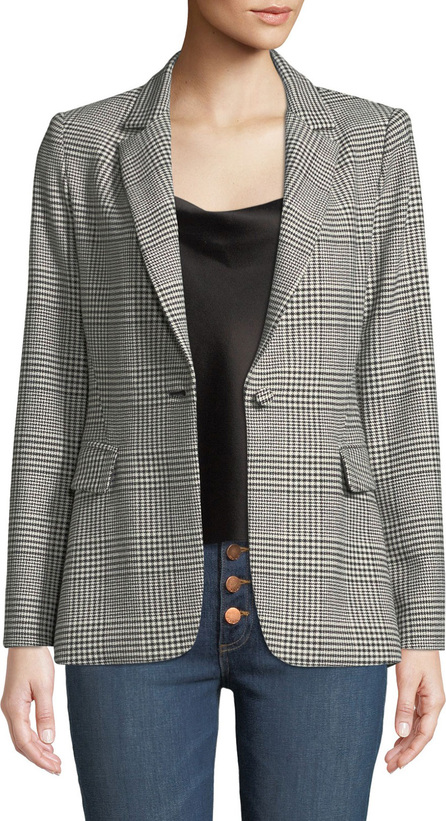 Alice + Olivia Macey One-Button Fitted Plaid Blazer