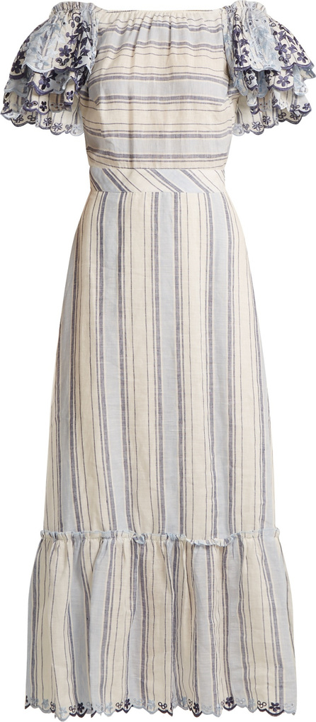 Gül Hürgel Ruffled-sleeve striped linen dress