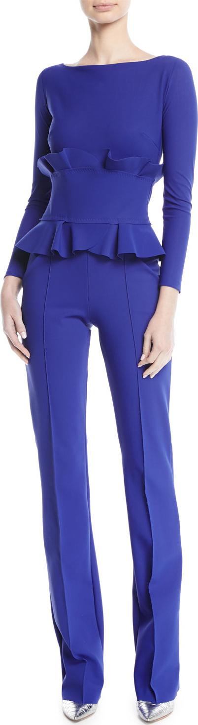 La Petite Robe di Chiara Boni Debra Double-Ruffle Long-Sleeve Jumpsuit