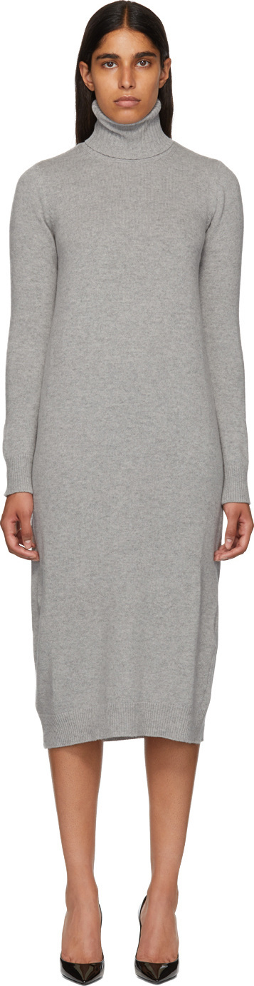 Max Mara Grey Agio Turtleneck Dress
