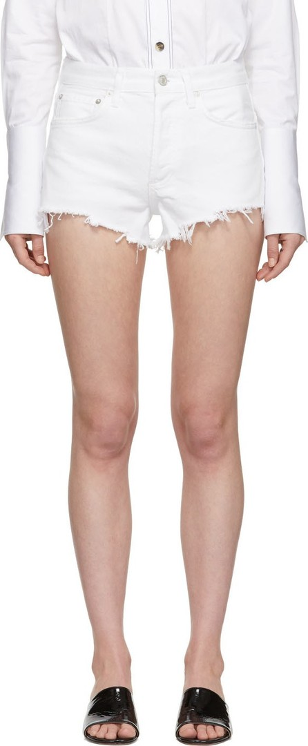 Agolde White Denim Parker Shorts