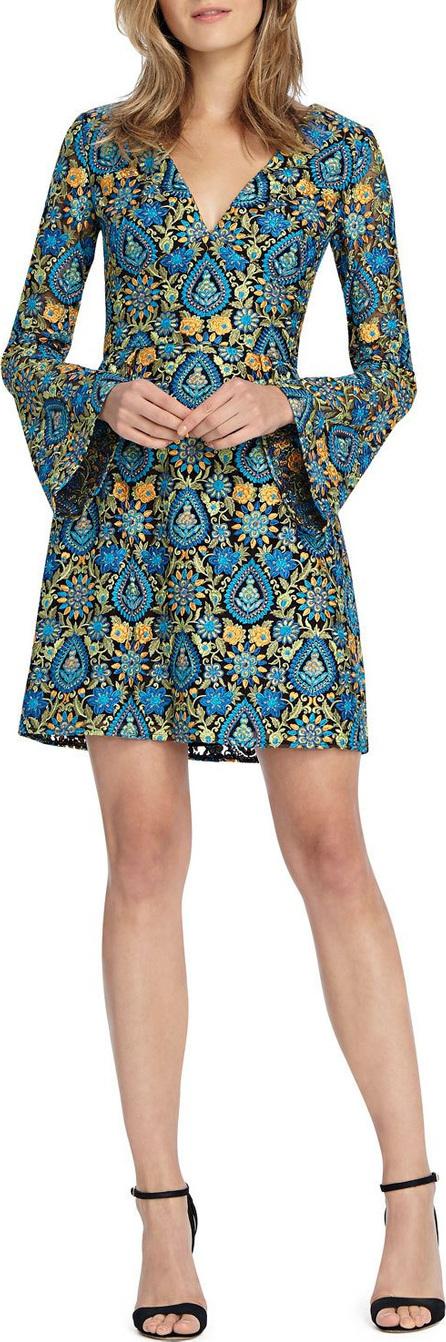 ML Monique Lhuillier Bell-Sleeve Mini Dress w/ V-Neck