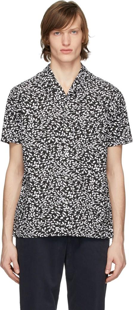 Officine Générale Black & White Seersucker Dario Short Sleeve Shirt