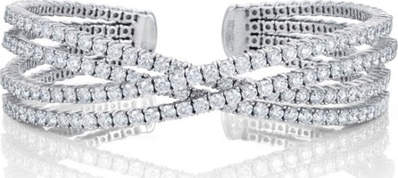 Bessa Crossover Diamond Cuff Bracelet in 18K Gold